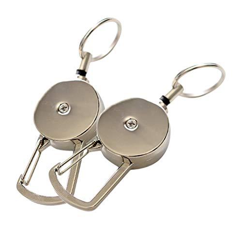 Sharplace リールキーホルダー 強力 カラビナ式 ワイヤー 金属 キーチェーン キーリング ユニセックス 2個入り