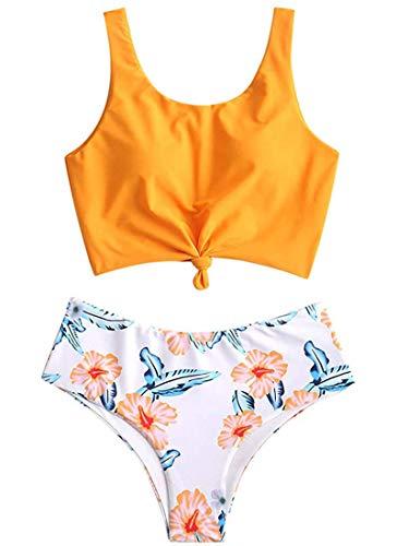 Yutdeng Bikini Set Maillots De Bain pour Femmes Vintage Taille Haute Mignon Bikini 2 Pièces Push-up Tankini...