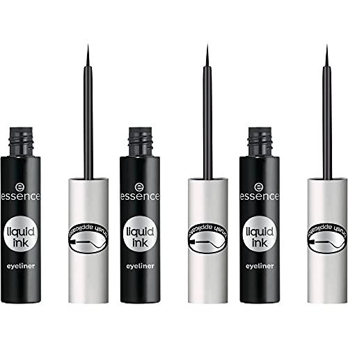 essence liquid ink eyeliner, Eye Liner, mit Pinselapplikator, Nr. 01, schwarz, definierend, vegan, ohne Parfüm, ohne Parabene, 3er Pack (3 x 3ml)
