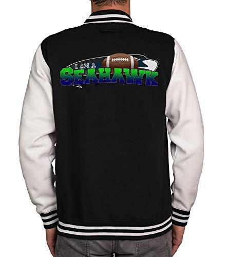 shirtdepartment - Herren College Jacke - Seahawk - Emerald City schwarz-I-am-a-Seahawk S