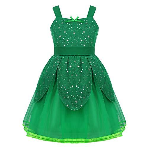 iEFiEL Costume Tinker-Bell Bambina Unisex Costume da Fata Trilly Campanellino Carnevale Festa Halloween Party Verde Vestito Principessa Fatina Fairy Girls 1-10 Anni Verde 1-2 Anni