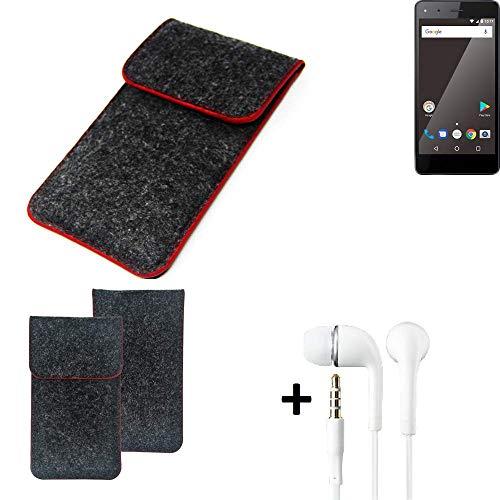 K-S-Trade Handy Schutz Hülle Für Blaupunkt SL 01 Schutzhülle Handyhülle Filztasche Pouch Tasche Hülle Sleeve Filzhülle Dunkelgrau Roter Rand + Kopfhörer