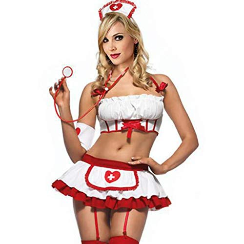 perfecti Traje De Enfermera Sexy para Mujer, Ropa De Dormir Cosplay Linda Lencería Enfermera Dividida Juego De rol Uniformes De Enfermera, Tamaño Libre