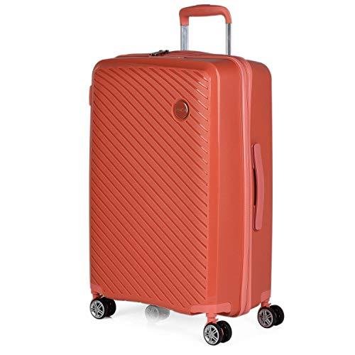 ITACA - Maleta de Viaje Mediana 4 Ruedas Trolley. 65 cm rígida de Polipropileno. práctica cómoda Ligera Marca. candado TSA. 760060, Color Coral