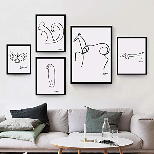 Picasso Abstracto Animal Poster Y Impresiones Perro Ardilla Caballo Pared Arte Minimalista Lienzo Pintura Salon Habitación Hogar Escandinavo Estilo Decoracion Imágenes