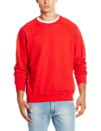 Fruit of the Loom Herren, Sweatshirt, Raglan Sweatshirt, Rot, Medium (Herstellergröße : Medium)