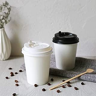 Iaywayii 50pcs Grueso Taza de café Desechables 250ml Blanco Perla de té de Soja Vasos de Papel y envases fríos Bebida Caliente Tazas con Tapa
