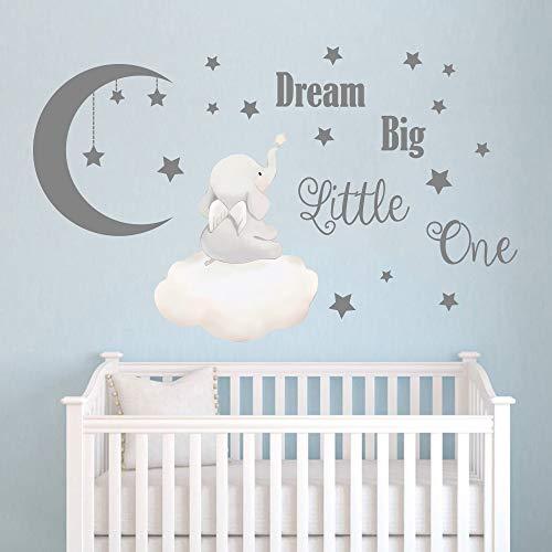 Runtoo Dream Big Little One Wall Stickers - Adesivi da parete per camera da letto, cameretta dei giochi, decorazione da parete