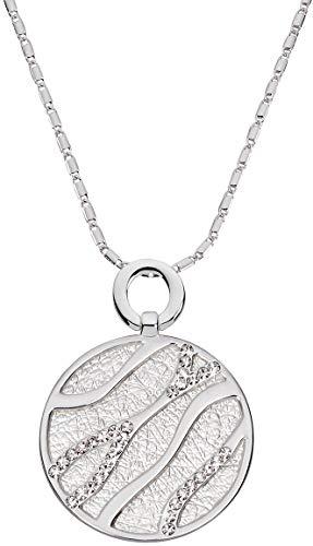 Perlkönig Kette Halskette | Damen Frauen | Silber Farben | Kreis förmige Münze | Glitzer Steine | Nickelabgabefrei
