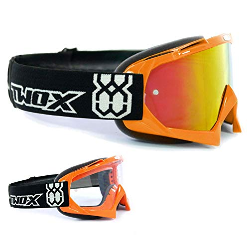 TWO-X Race Crossbrille orange Glas verspiegelt Iridium MX Brille Motocross Enduro Spiegelglas Motorradbrille Anti Scratch MX Schutzbrille