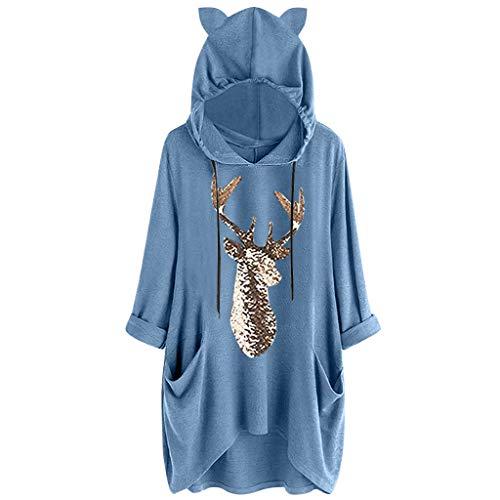 Floweworld Damen Kapuzen Sweatshirt Mode Tuinic Tops Weihnachten Gedruckt Katze Ohr Lange Ärmel Taschen Kleider Beiläufige Lose Kleider