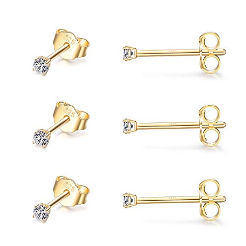 CERSLIMO Silver Stud Earrings for Women Men Girls, 3 Pairs Sterling Silver Tiny Cubic Zirconia Stud Earrings Small Dainty Cartilage Tragus Sleeper Earrings Set (2mm/3mm/4mm, Silver/Gold/Rose Gold)