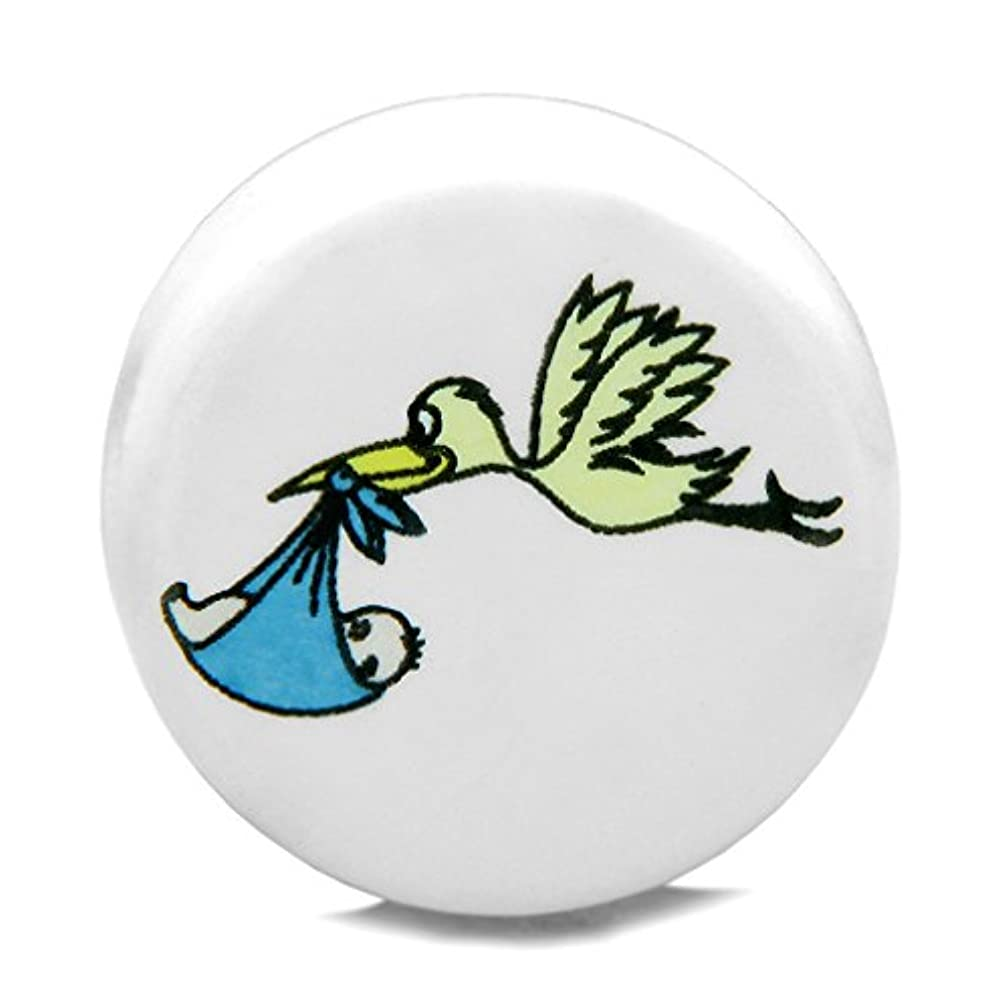 10 Pieces DIY Reversible Ceramic Handcrafted Adorable Stork Caring Baby Boy 21mm Beads with Large Hole