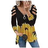Camisas para mujer de manga larga sexy con cuello en V con cremallera y pliegue casual blusa tops femenina túnicas, 01-amarillo, L