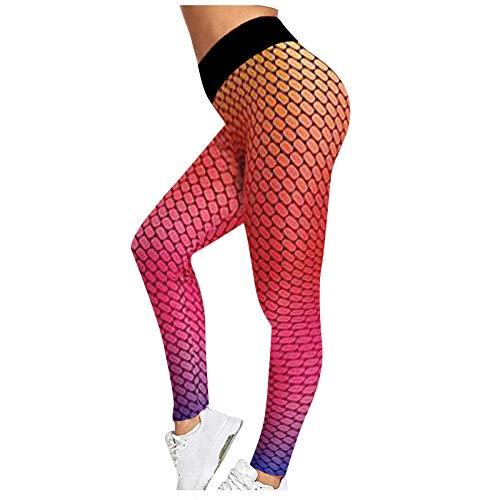 2Pcs Pantalones Deportivos Casual de Yoga Leggings Transpirables Elásticos Pantalón de Deporte Jeggings de Cintura Alta Leggins Push Up Mallas Ideal para Training Correr Gym
