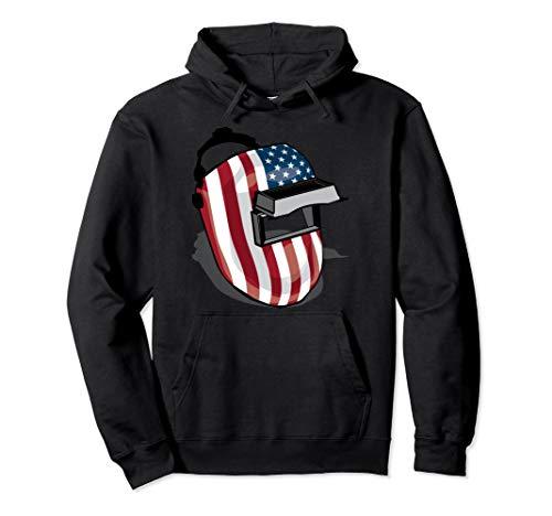 American Flag Welding Helmet Shape | Cute Welder Gift Pullover Hoodie