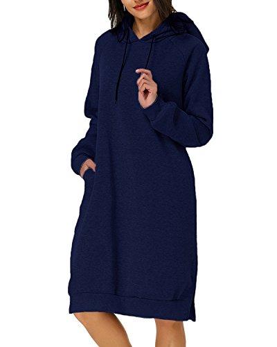 Kidsform Damen Hoodie Pullover Kapuzenpullover Herbst Pulli Kleider Sweatjacke Jumper Lange Sweatshirt S Marine