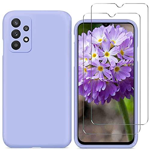 YiKaDa - Funda Compatible con Samsung Galaxy A32 4G (NO para 5G) + [2 Unidades] Cristal Templado Protector de Pantalla, Cáscara Suave de Silicona TPU Líquida - Púrpura
