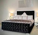 <span class='highlight'><span class='highlight'>mm08enn</span></span> Cubed Upholstered Crushed Velvet Double/Kingsize Bed Frame in Silver,Black,Cream,Gold,Champagne,Truffle (5ft King Size, Black)