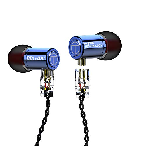 Senlee TRN M10 1DD 1BA Monitor Earbuds, Hybrid HiFi in Ear Earphone with 30095 Balanced Armature and 8mm Dynamic Driver TRN IEM (Without Mic, Blue)