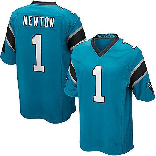 FAONL Herren American Football Trikot # 1 Cam Newton Carolina Panthers, Fans Spieler Trikot Outdoor Trainingsanzug Jugendtraining Fitness T-Shirt-blue-2XL