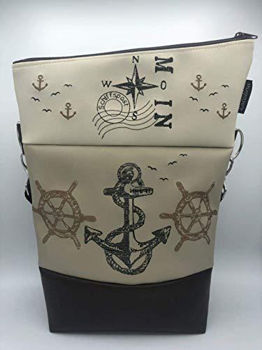 Handtasche Schiffsrad Anker Moin Natur Maritim Tasche Foldover Schultertasche
