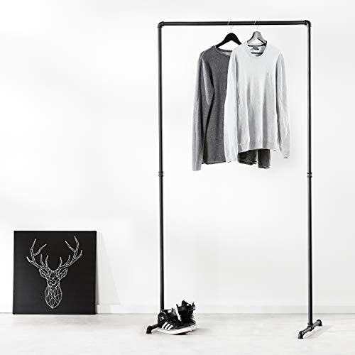 pamo Kleiderständer im Vintage Industrial Design – Gaderobenständer schwarz Metall aus Wasserrohre (Lil LAS HIGH (194cm x 94cm))