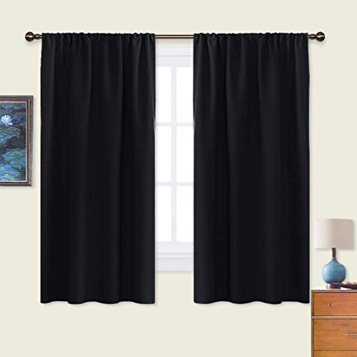 NICETOWN Black Blackout Curtain Blinds - Solid Thermal Insulated Window Treatment Blackout Drapes/Draperies for Bedroom (2 Panels, 42 inches Wide by...