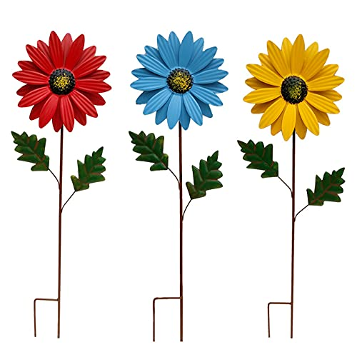 WZCL Metal Flower Garden Stakes Colorful Daisy Garde, Indoor Outdoor Lawn Patio Decorations, 3D Sunflower Metal Yard Art, Hand-Painted Multicolor Outdoor Metal Flower Garden Decorations (3Pcs)