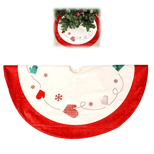 HXXXIN Red 120Cm Christmas Tree Skirt, Snowflake Tree Skirt, Double-Layer Thickened Christmas Tree Cushion, Holiday Party Decoration