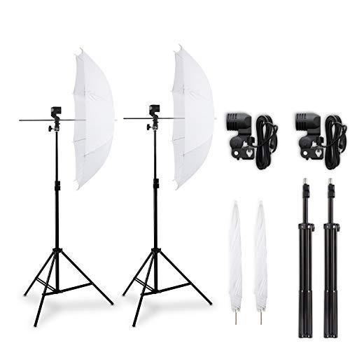 Hochwertiges HAUSER und PICARD Double-Set: 2X Durchlicht-Schirm Weiß + 2X Foto-Stativ | Foto-Schirm/Studio-Schirm/Studio-Licht - ohne Leuchtmittel