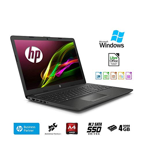 HP 255 G7 15,6 Zoll Notebook AMD A4-9125 Dual Core 2 x 2.30 GHz, 4GB RAM, 256 GB SSD M.2,DVD±R/RW,Radeon R3,HDMI,Webcam,USB 3.0,Windows 10 Professional 64 Bit,Office 2019,Italienische QWERTY-Tastatur