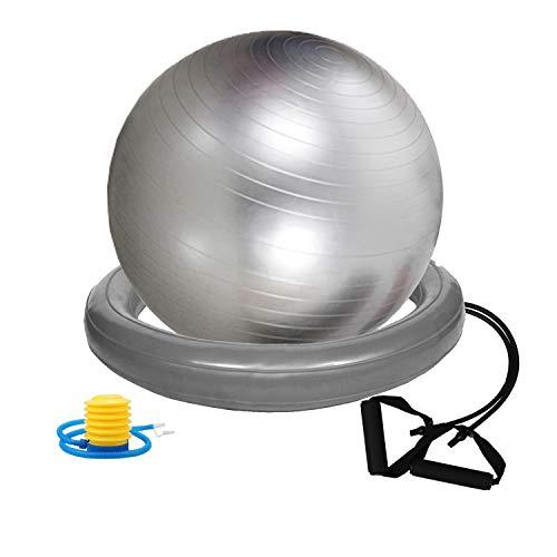 Gloop - Pelota blanda de gimnasia gruesa antipinchazos, pelota de pilates, bandas de resistencia, niño, Set plateado., 75 cm