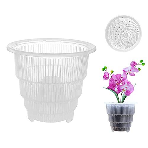 Aemiy Zoomarlous - Vaso per orchidee in plastica trasparente con fori, traspirante e cavo, per coltivatori di orchidee e ortaggi, per giardinaggio domestico, 12 cm, 14 cm, 17,8 cm