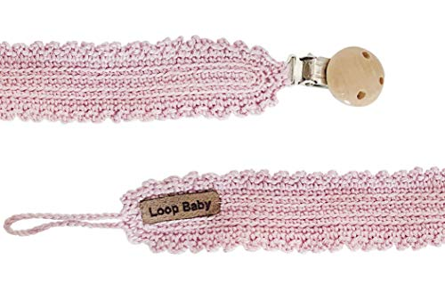 LOOP BABY rosa Schnullerband aus Bio-Baumwolle gehäkelt - Vintage Schnullerkette - handgemacht
