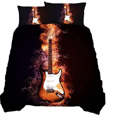 Juego de ropa de cama de 155 x 220 cm, 3 piezas, microfibra, funda nórdica 3D con cremallera y 2 fundas de almohada