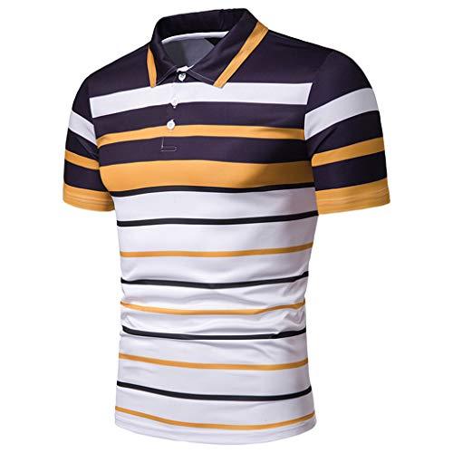 Celucke Polohemd Poloshirt Gestreift Herren Poloshirt Männer Basic Hemd Polo Shirt Kurzarm Slim Fit, Kurzarmhemd Sweatshirt T-Shirt Herrenhemden Marken Polohemden (Gelb,L)