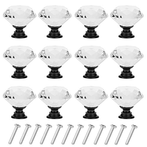 D-buy 12 Pack 30mm Cabinet Knobs Drawer Pulls Drawer Knobs Dresser Knobs Diamond Shaped Crystal Glass con viti (nero)