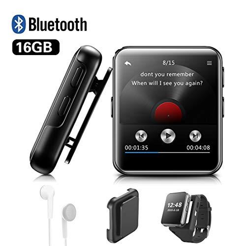 Lettore MP3 BENJIE 16GB Bluetooth 1.5'Sport Lettore MP3 Full HiFi Screen Lossless Sound, Radio FM, Registratore vocale con auricolare, Ebook, Lettore video per musica e Appassionati di sport