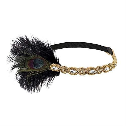 XYCC diadema vintage con plumas para mujer, diadema retro para el pelo,...