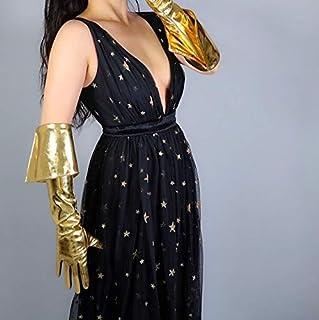 女性のセクシーなスリムフェイクPUレザーグローブレディースクラブパフォーマンスフォーマルパーティーゴールドロンググローブ65センチメートル (Color : Gold)...