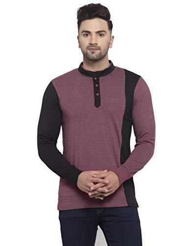 Kalt Men Full Sleeves Dual Colour Mandarin Collar Cotton Blend T-Shirt(Maroon Melange::Black;7XL)