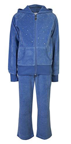 Brody & Co., tuta sportiva per bambine con giacca e pantaloni in velluto #Trackisback. Sky Blue 11 anni