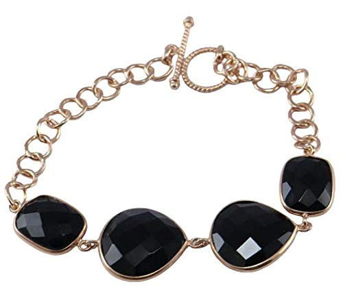 925 Sterling Silver Black Onyx Gemstone Rose Gold Plated 7.5 inch Bracelet Fine Silver Jewelry Crystalcraftindia
