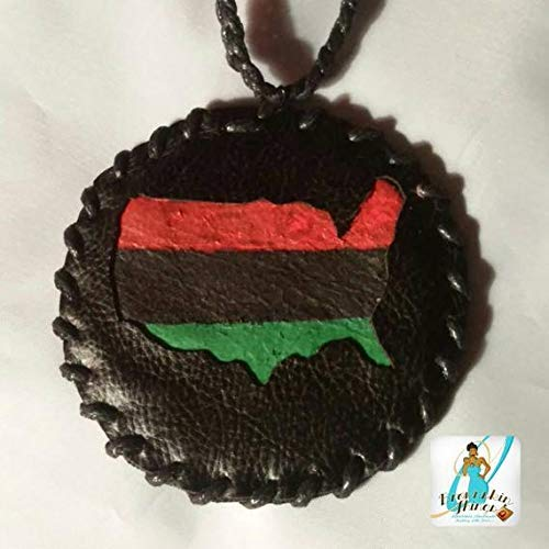90s Faux Leather America Medallion Necklace for Men - RBG Colors - Handmade - USA - Old School Hip Hop Accessories - African American