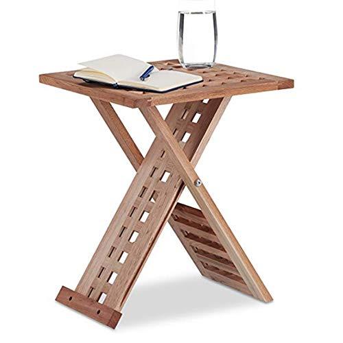 Zaixi Table d'appoint Pliante, Table Basse Pliante en Bois Massif, Petite Table de Chevet, Carrée, HWD: 40,5 x 33 x 33 cm, Naturel Forte capacité portante