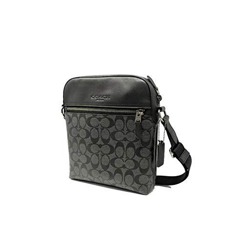 Coach Houston Flight Bag In Signature Canvas Charcoal/Black