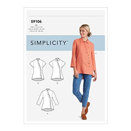 Simplicity SS9106AA Schnittmuster S9106 Damen-Shirt mit Knopfleiste vorne, verschieden, AA (10-12-14-16-18)