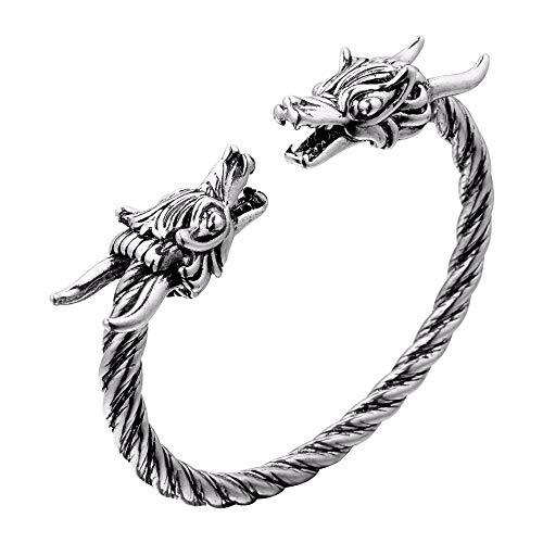 Feeyond Accesorios Pulseras Brazalete Gemelos del dragón de Viking del Punk, Vikings Bangels Hombres de Las Mujeres