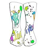akingstore Calcetines-Mujeres Algodón de lujo Colorido Cool Fun Calcetines hasta la rodilla 19.7'(50 cm) be Tarjeta de felicitación creativa Coloridas gotas de tinta aisladas